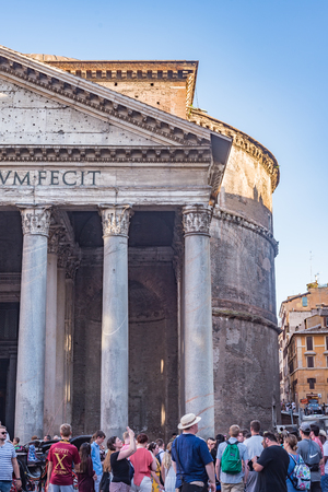 Rome, Italy - July 16, 2019: The Pantheon is a famous monument of ancient Roman culture, the temple of all the gods