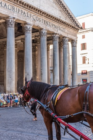 Rome, Italy - July 17, 2019: The Pantheon in Rome, Italy. The Pantheon is a famous monument of ancient Roman culture, the temple of all the gods 報道画像