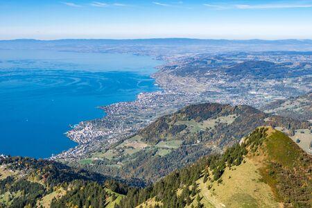 Beautiful landscape photography of the Lake Geneva (Lac Leman), Switzerland. Shot from the Rochers de Naye (Rocks). Incredible blue water