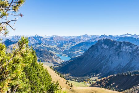 Panoramic view of Swiss Alps from top of Rochers-de-Naye, near Montreux, Canton of Vaud, Switzerland. 写真素材