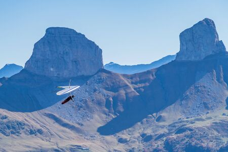 Hang-gliding in Swiss Alps from top of Rochers-de-Naye, near Montreux, Canton of Vaud, Switzerland. Stok Fotoğraf