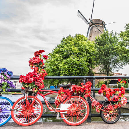 Bicycles very decorated with flowers. The De Gooyer mill behind. High quality photo