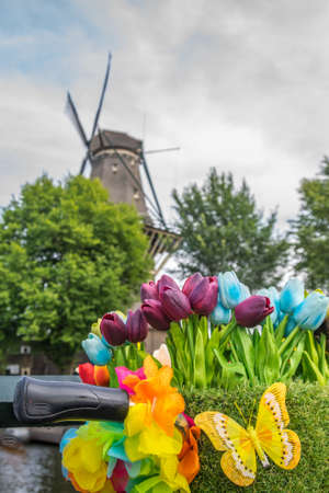 Tulips on the bike. The De Gooyer Mill behind. Focus in the foreground. High quality photo