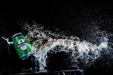 Buenos Aires, Argentina-October, 2019: High speed photo of exploding can of soda. Concept, high speed photos