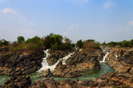 Li Phi Falls (Tat Somphamit) on Mekong River. Famous Landscape in Mekong River Delta, 4000 islands, Champasak - Laos.
