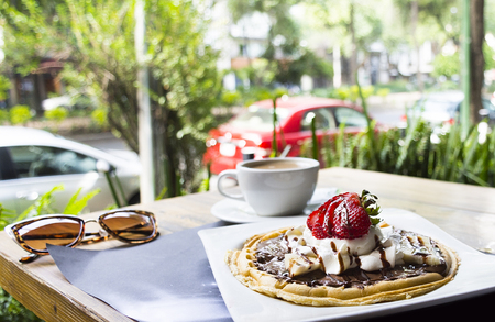 Saturday Breakfast, Waffles with Ice Cream and Coffee