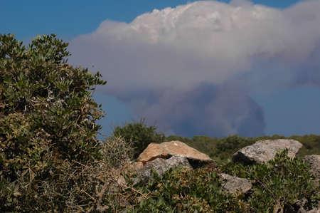 Fire in the island of Menorca, Spain