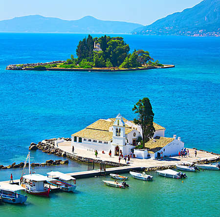 A view of a Vlacherna Monastery and Mouse island on Corfu, Greece Stock Photo - 14577411