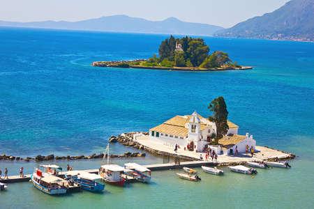 kerkyra: A view of a Vlacherna Monastery and Mouse island on Corfu, Greece Stock Photo