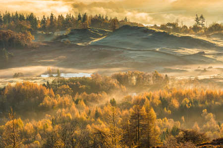 Frosty Autumn landscape on a misty fresh morning in the Lake District. Stock Photo