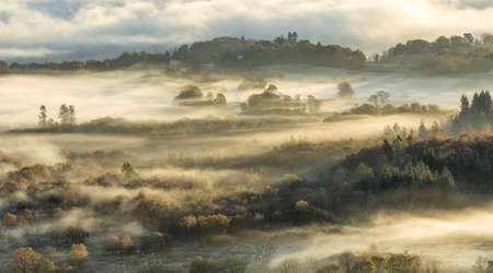 Autumn hilly landscape covered in lingering fog/mist with warm morning light. Stock Photo