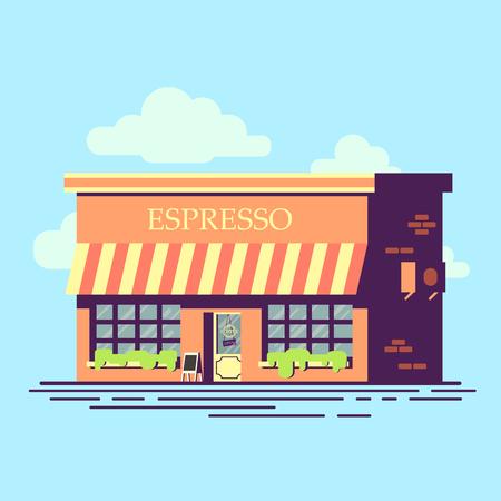 Illustration de style plat Cafe. Jolie construction de café. Banque d'images - 79884403