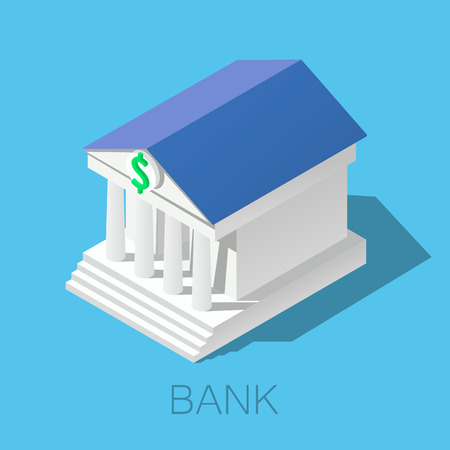3D isometric bank building icon.