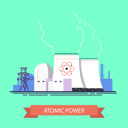 Vector concept of atomic station in flat design