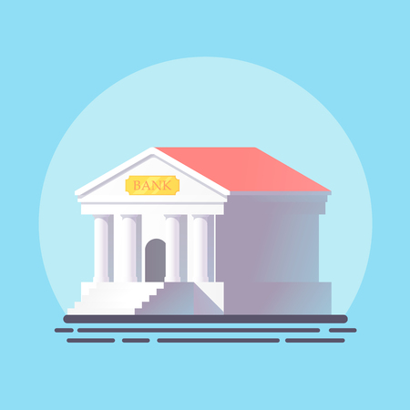 Bank building in flat design.