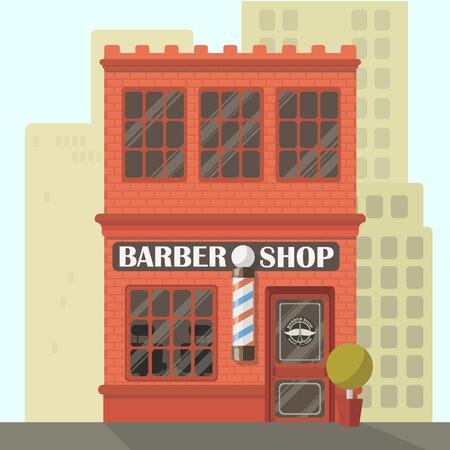 Barber shop. Flat retro building - Store facade.