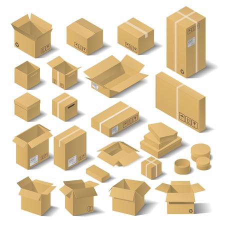 Définir des boîtes de carton isométriques vectorielles. Illustration vectorielle à plat 3D. Banque d'images - 80490000