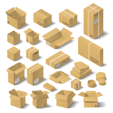Set vector isometric cardboard boxes. 3D flat vector illustration.