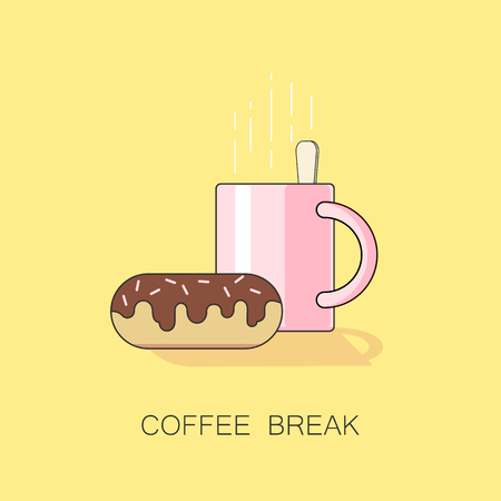 An illustration of coffee break with cup of coffee or tea and a chocolate donut. A vector clip art in simple flat design with light yellow background