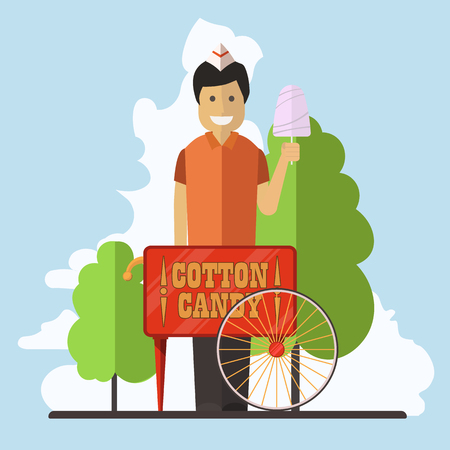Cotton candy market. Vector flat illustration. Ilustração
