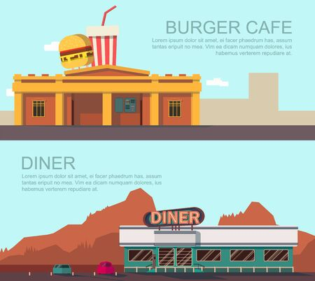 Vector illustration of diner and burger cafe.