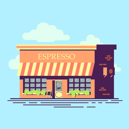 Cafe flat style illustration. Pretty building coffee shop. Ilustração