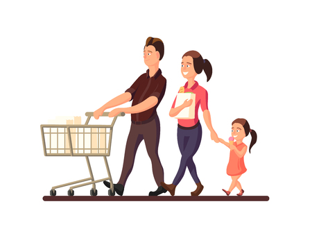 A vector illustration of family going to the market. Characters of smiling members of family: mother, father and child on white background. Vectores