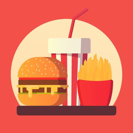 Fast food icon. Burger and potato fries. Ilustração