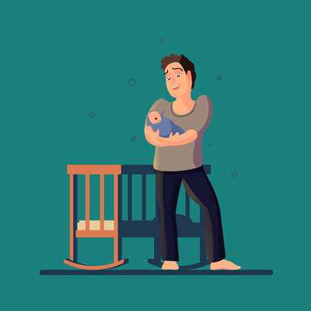 Vector illustration of father cradling crying baby. A dark room with a crib in flat design.