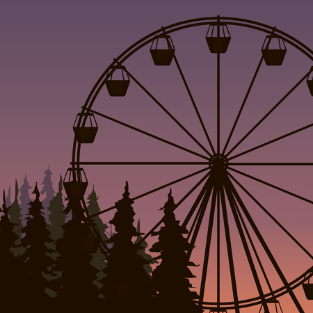 Silhouette of Ferris wheel in spuce park on the sunset