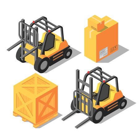 Isometric forklift and storage boxes. 3D flat vector illustration.