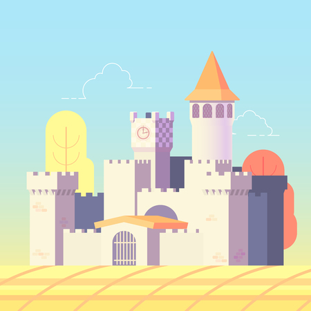 Fairytale castle in flat design vector illustration Illustration