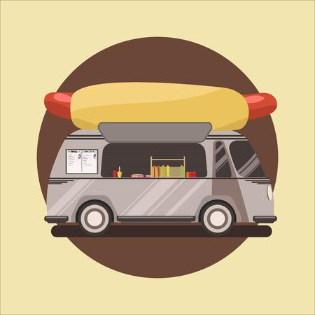 Hot dog shop, truck. vector illustration