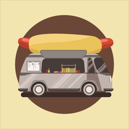 Magasin de hot-dog, camion. illustration vectorielle Banque d'images - 80490006