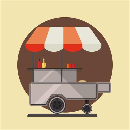 Hot dog ctreet car icon. vector illustration