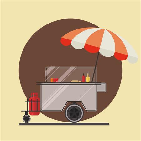 Hot dog street car icon.Vector illustration.