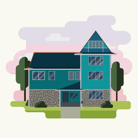 Vector illustration of colorful flat house. Ilustração