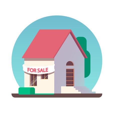Maison à vendre icône. icône plate illustration Banque d'images - 80490086