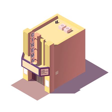 Isometric cinema building. vector illustration