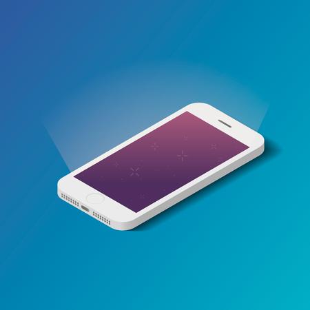using smart phone: Vector 3d isometric smartphone icon.