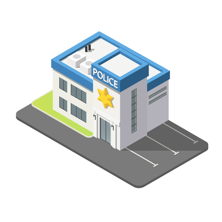3D isometric police building in flat style isolated on white background.