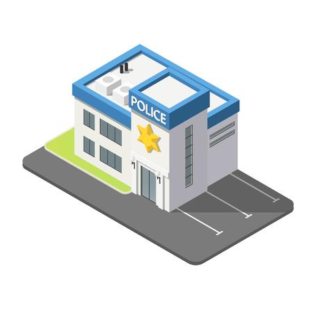 Police isométrique 3D bâtiment dans un style plat isolé sur fond blanc. Banque d'images - 80490090