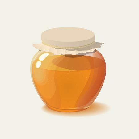 Glass jar of honey. vector illustration Ilustração