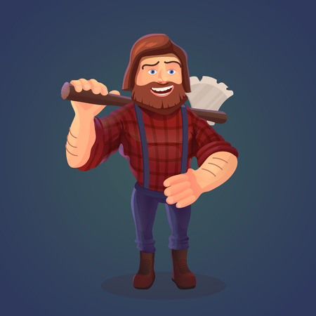 lumberjack shirt: Vector illustration of standing lumberjack with axe. A cartoon character of happy feller with beard in red shirt and tailors.