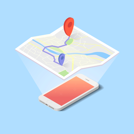geolocation: Vector hologram of map with navigation on the smartphone in flat design