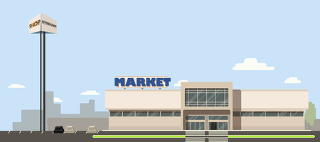 Mall or supermarket or hypermarket building in the city with advertising pillar in flat design