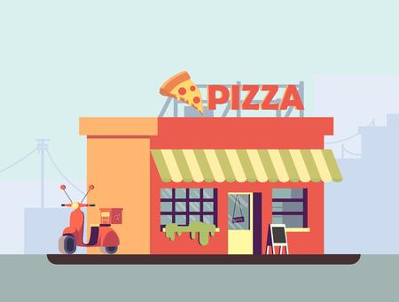 Une illustration de vecteur de pizzeria italienne au design plat. Un bâtiment avec une moto à proximité. Banque d'images - 80490078