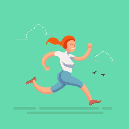 A sporty running girl in flat design