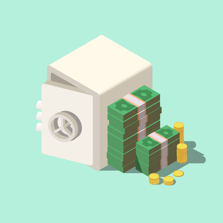 Isometric bank safe with money dollar stacks. 3D flat vector illustration.