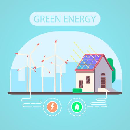 Ecologic house and green energy concept. Flat vector illustration. Ilustração